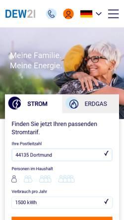 Vorschau der mobilen Webseite www.dew21.de, DEW21