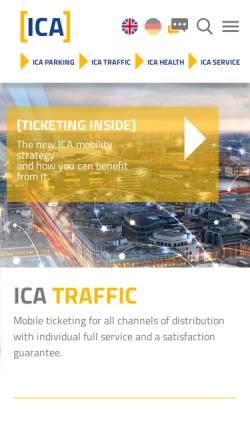 Vorschau der mobilen Webseite www.ica.de, ICA Traffic GmbH