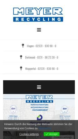 Vorschau der mobilen Webseite www.meyer-recycling.de, Meyer Recycling