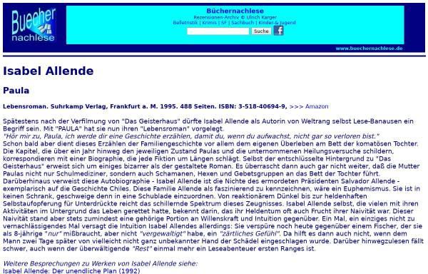 Vorschau von buechernachlese.de, Isabel Allende: Paula