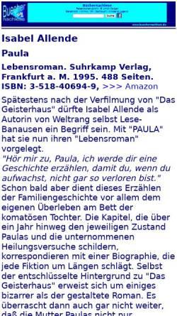 Vorschau der mobilen Webseite buechernachlese.de, Isabel Allende: Paula