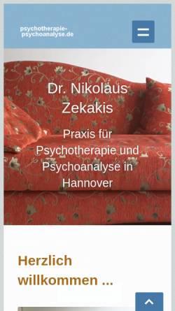 Vorschau der mobilen Webseite www.psychotherapie-psychoanalyse.de, Zekakis, Dr. med. Nikolaus