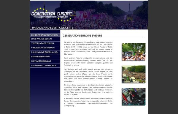 Vorschau von www.generationeurope.de, Generation Europe Events