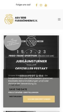 Vorschau der mobilen Webseite www.asvfussgoenheim.de, ASV Fußgönheim