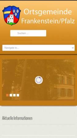 Vorschau der mobilen Webseite www.frankenstein.de, Gemeinde Frankenstein (Pfalz)