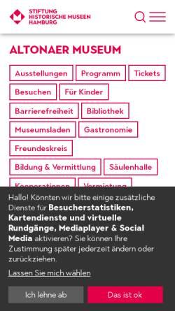 Vorschau der mobilen Webseite www.altonaermuseum.de, Altonaer Museum