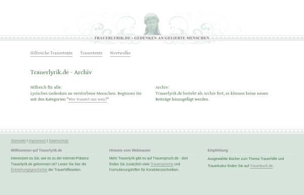 Vorschau von www.trauerlyrik.de, Lyrisches Gedenken an verstorbene Menschen