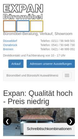 Vorschau der mobilen Webseite www.bmoebel.de, Expan Büromöbel GmbH