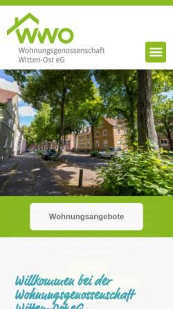 Vorschau der mobilen Webseite www.wwo-witten.de, Wohnungsgenossenschaft Witten - Ost eG