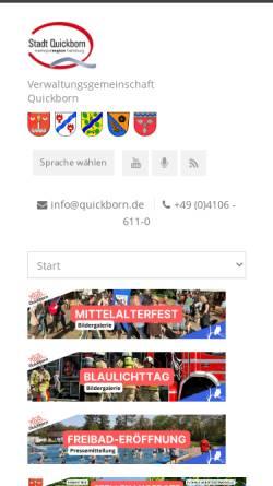Vorschau der mobilen Webseite www.quickborn.de, Stadt Quickborn
