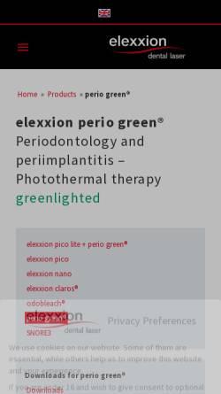 Vorschau der mobilen Webseite periogreen.com, Elexxion GmbH