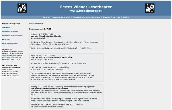 Vorschau von www.lesetheater.at, Erstes Wiener Lesetheater und zweites Stegreiftheater