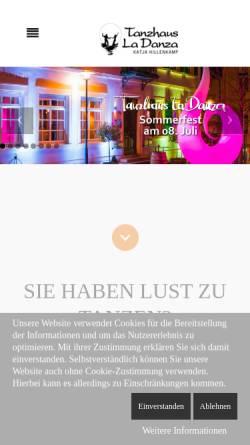 Vorschau der mobilen Webseite www.tanzhaus-la-danza.de, Tanzhaus La Danza Katja Hillenkamp