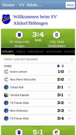Vorschau der mobilen Webseite www.sv-ab.de, SV Altdorf/Böbingen