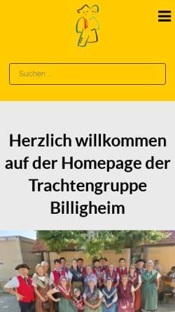 Vorschau der mobilen Webseite www.trachtengruppe-billigheim.de, Trachtengruppe Billigheim