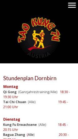 Vorschau der mobilen Webseite www.taokungfu.at, Tao Kung Fu