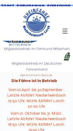 Vorschau der mobilen Webseite www.mittelrhein-faehre.de, Mittelrheinfähre Niederheimbach-Lorch - Fährbetrieb Michael Schnaas