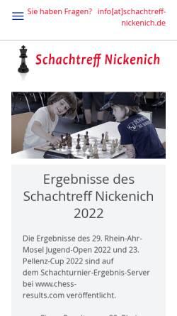 Vorschau der mobilen Webseite schachtreff-nickenich.de, Schachtreff Nickenich