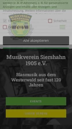 Vorschau der mobilen Webseite www.musikverein-siershahn.de, Musikverein Siershahn 1905 e.V.