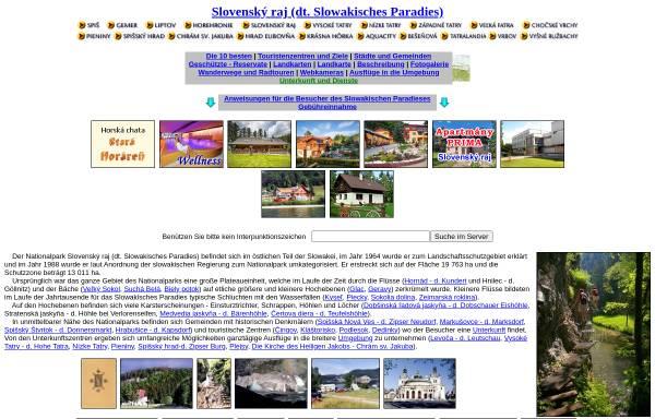 Vorschau von www.slovenskyraj.sk, Slowakisches Paradies