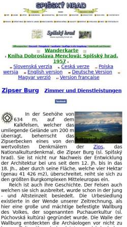 Vorschau der mobilen Webseite www.spisskyhrad.sk, Zipser Burg (Spišský hrad)