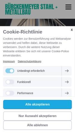 Vorschau der mobilen Webseite www.buerckenmeyer.de, Bürckenmeyer GmbH & Co. KG