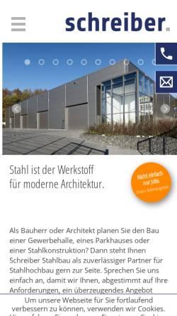 Vorschau der mobilen Webseite www.schreiberstahlbau.de, Schreiber Stahlbau GmbH