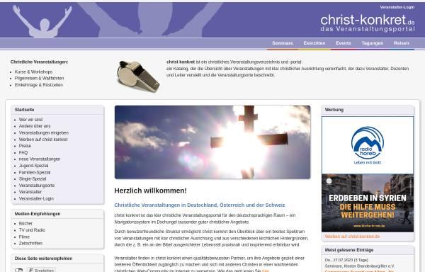 Vorschau von www.christ-konkret.de, Christliches Veranstaltungsportal für D, A, CH