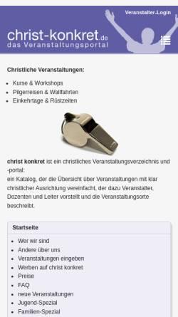 Vorschau der mobilen Webseite www.christ-konkret.de, Christliches Veranstaltungsportal für D, A, CH