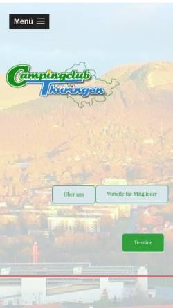 Vorschau der mobilen Webseite www.campingclub-thueringen.de, Deutscher Camping-Club e.V. Landesverband Thüringen