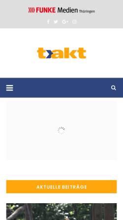 Vorschau der mobilen Webseite www.takt-magazin.de, t.akt - Kultur- und Freizeitmagazin für Thüringen