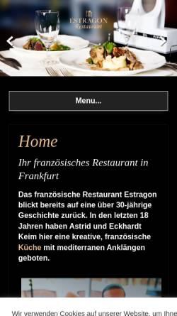 Vorschau der mobilen Webseite www.estragon-frankfurt.de, Restaurant Estragon