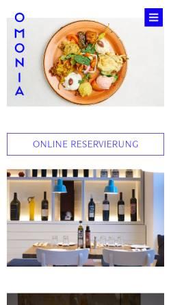 Vorschau der mobilen Webseite omonia.de, Restaurant Omonia
