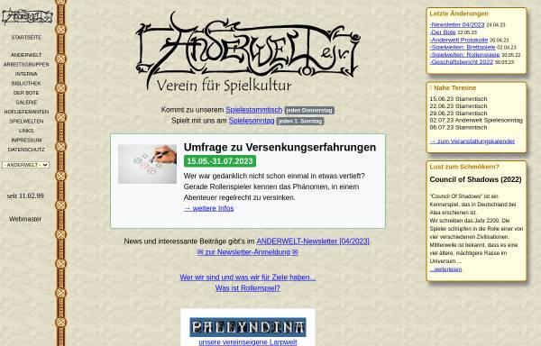 Vorschau von www.anderwelt.net, Anderwelt e.V.