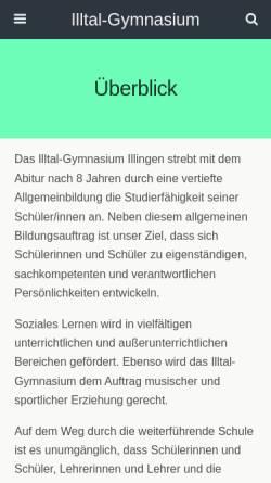 Vorschau der mobilen Webseite www.illtal-gymnasium.de, Illtal-Gymnasium