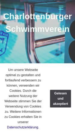Vorschau der mobilen Webseite www.csv-berlin.de, Charlottenburger Schwimmverein e.V.