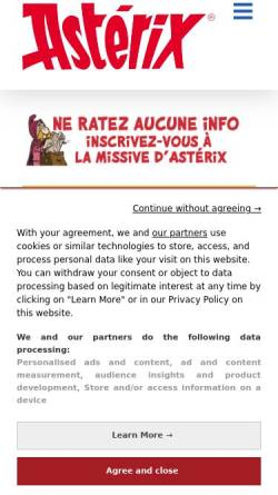 Vorschau der mobilen Webseite www.asterix.com, Asterix, der gallische Krieger