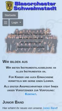 Vorschau der mobilen Webseite blasorchester-schwalmstadt.de, Blasorchester Schwalmstadt