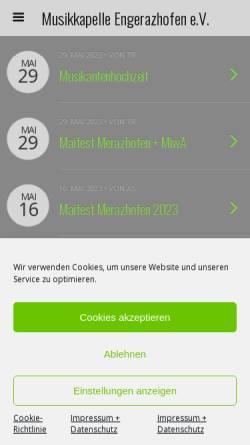 Vorschau der mobilen Webseite www.mk-engerazhofen.de, Musikkapelle Engerazhofen e.V.