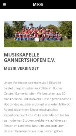 Vorschau der mobilen Webseite www.mk-gannertshofen.de, Musikkapelle Gannertshofen e.V.