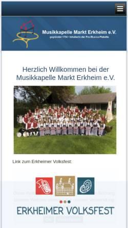 Vorschau der mobilen Webseite www.mk-erkheim.de, Musikkapelle Markt Erkheim e.V.