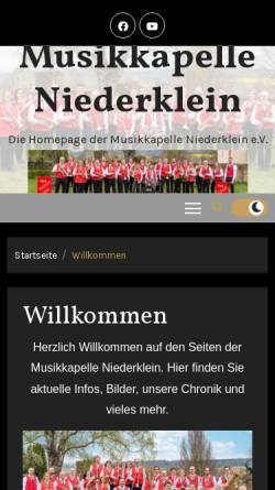 Vorschau der mobilen Webseite www.musikkapelle-niederklein.de, Musikkapelle Niederklein