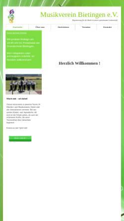 Vorschau der mobilen Webseite www.musikverein-bietingen.de, Musikverein Bietingen e.V.