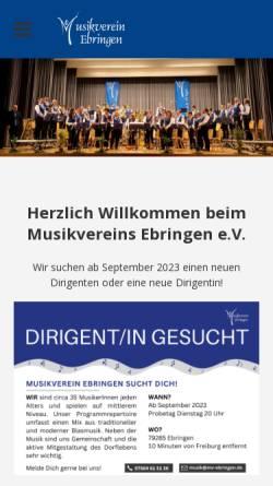 Vorschau der mobilen Webseite www.mv-ebringen.de, Musikverein Ebringen e.V.