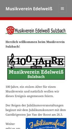 Vorschau der mobilen Webseite mv-sulzbach.de, Musikverein Edelweiss Sulzbach