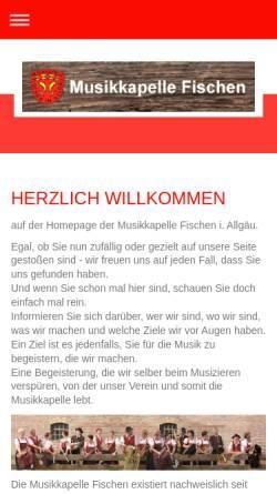 Vorschau der mobilen Webseite www.musikverein-fischen.de, Musikverein Fischen e.V.