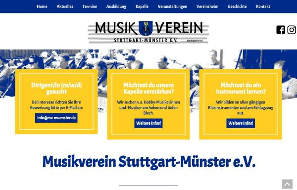 Vorschau von www.mv-muenster.de, Musikverein Stuttgart-Münster e.V.