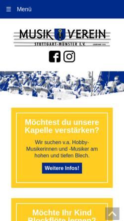 Vorschau der mobilen Webseite www.mv-muenster.de, Musikverein Stuttgart-Münster e.V.
