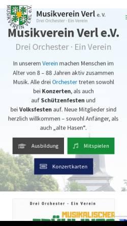 Vorschau der mobilen Webseite www.musikverein-verl.de, Musikverein Verl e.V.