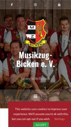 Vorschau der mobilen Webseite www.musikzug-bicken.de, Musikzug Bicken e.V.